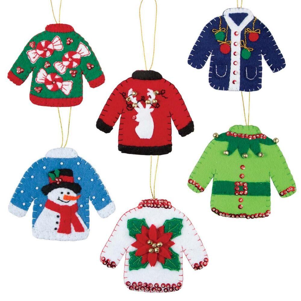 Felt Street™ Holiday Sweaters III Felt & Sequin Kit | chrismas ...