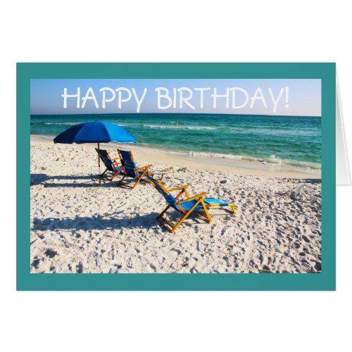 happy birthday beach scene Happy Birthday!   Blue beach chairs florida scene Card | Beach  happy birthday beach scene