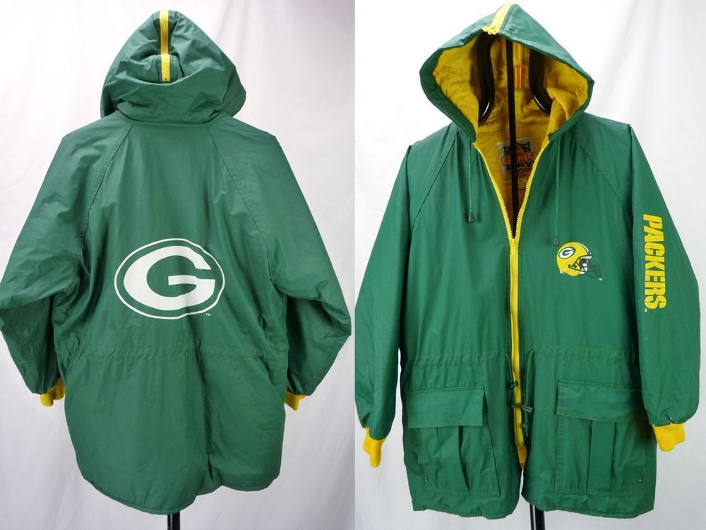 0c94e053 Details about Vintage Game Day Green Bay Packers Rain Coat Jacket ...