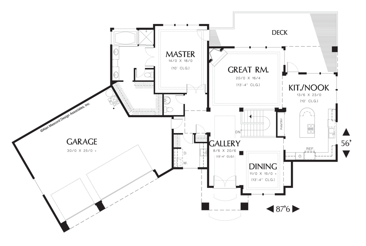 Rear views...outdoor living option on side, garage in back...Main Floor Plan of Mascord Plan 1312 - The Cogan