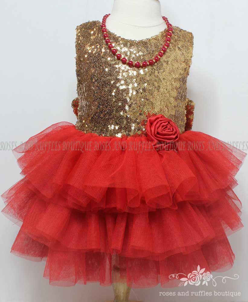 a2f7d4b4c50 Red Gold Baby Dress