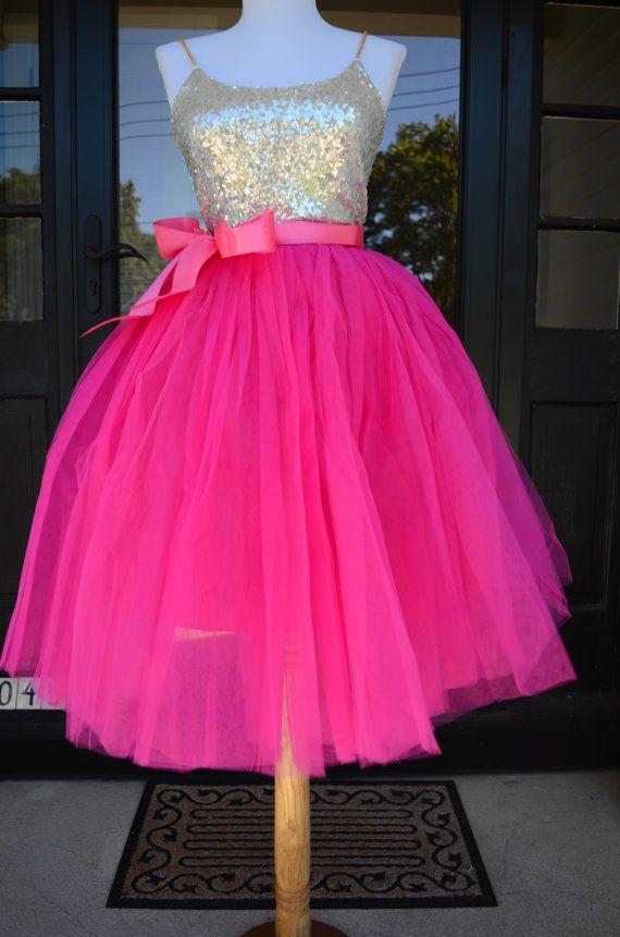 Magenta Pink Tutu, Fuchsia Tulle skirt, Hot Pink tutu, tulle skirt ...