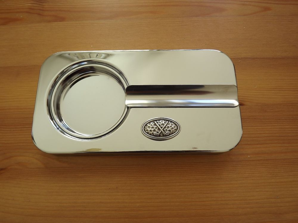 Chrome Plated Metal Cigar Ashtray - Silver Plated Golf Club