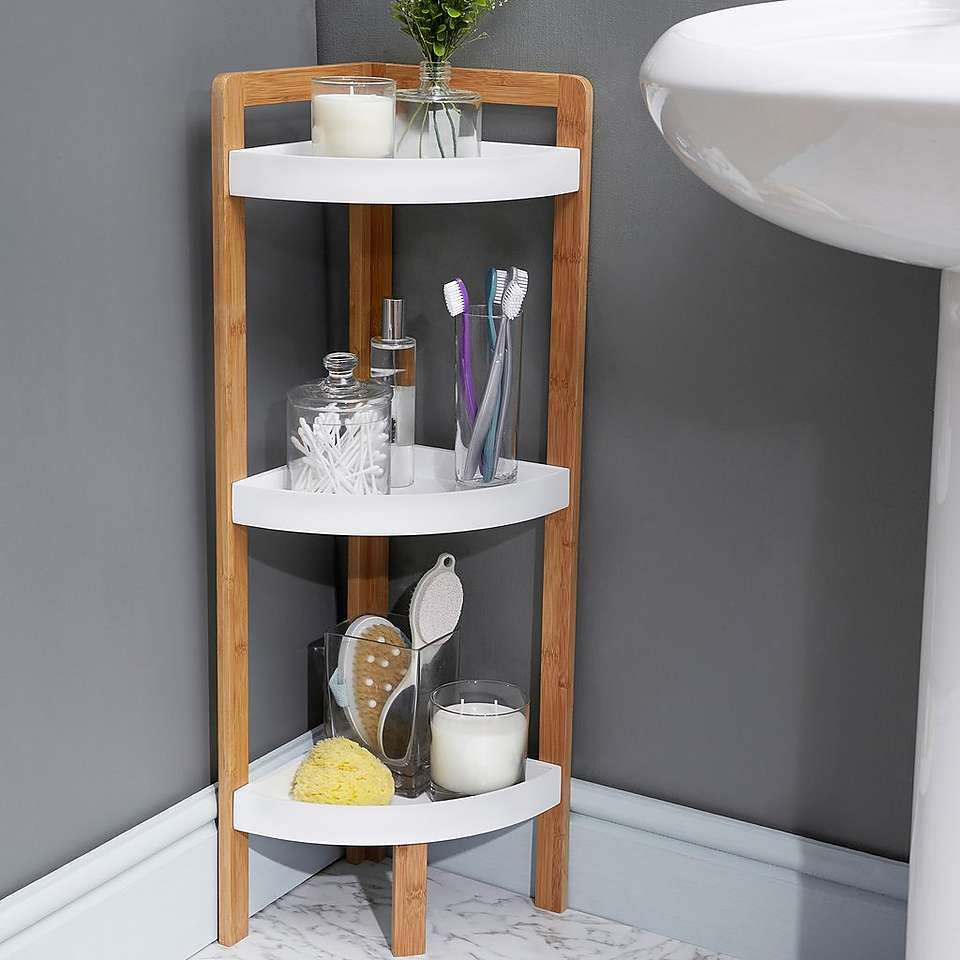 Elements Bamboo 3 Tier Corner Caddy Bamboo Bathroom Bathroom Collections Furniture