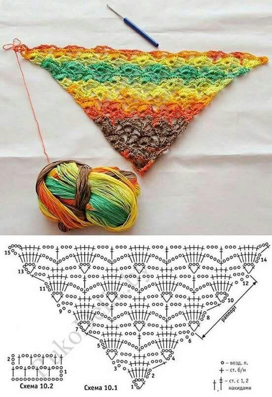 Chal de colores | chal | Pinterest | Croché, Ganchillo y Chal