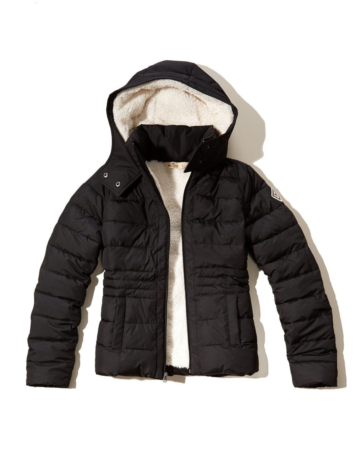 Explore Hollister Jackets, Puffy Jacket, and more! Hollister Womens Sherpa  Lined Puffer Jacket Black