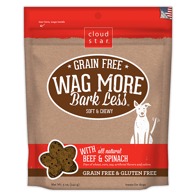 Cloud Star - Wag More Bark Less Soft & Chewy Grain Free - Beef & Spinach