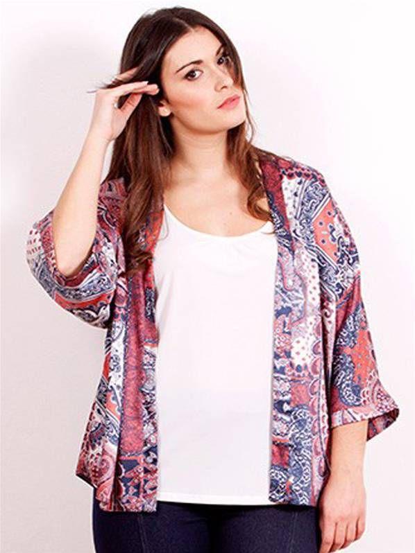 e995c3ee3bd Kimono blusa estampado en talla grandes | Primavera Verano 2015