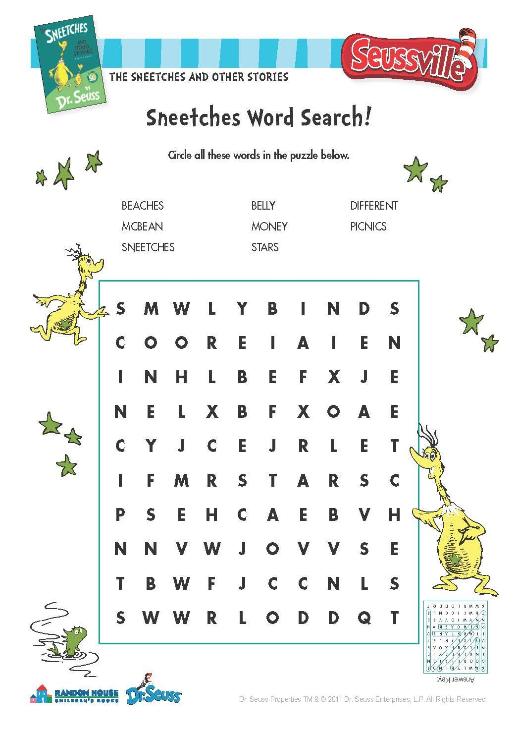 The Sneetches Word Search Seussville Drseuss Printables Downloadable Puzzle Wordsearch Literacy Sneetches Dr Seuss Activities Guidance Lesson Plans