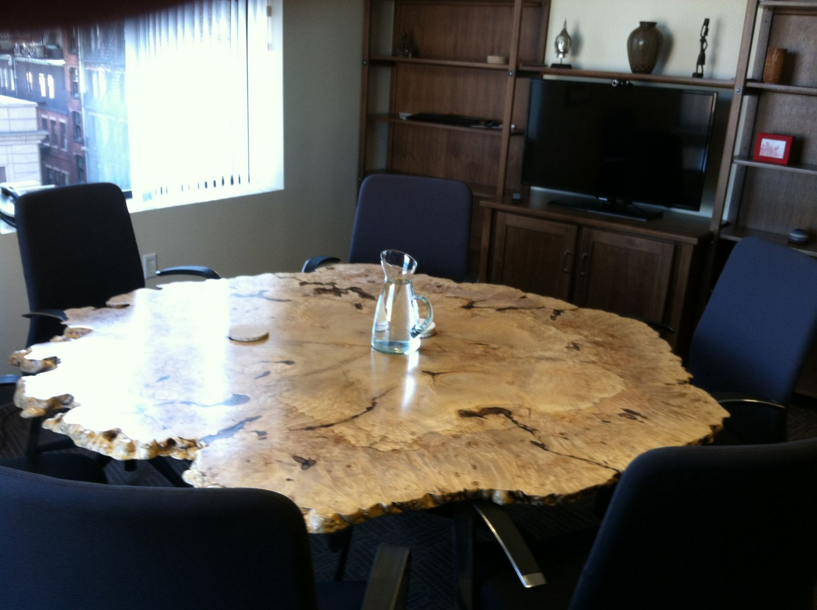 Round Live Edge Maple Burl Table Maple Dining Table