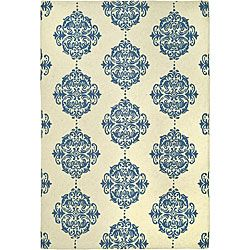 Hand-hooked Miff Ivory/ Blue Wool Rug (5'3 x 8'3)- $183.53