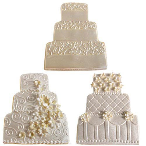 Ivory and White Wedding Cake Cookies