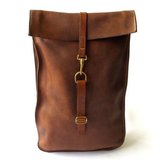"Leather Backpacks | Kika NY Postal BackPack #1. Dark Tan. $675. 17""-12""-3"". With slide-closure to change size of bag. With divider & large pocket inside (8""-9"") & pocket on the back with zipper (7""-8"")."
