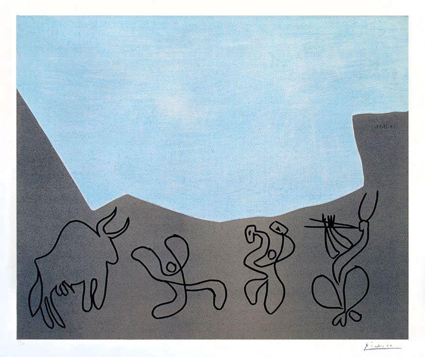 Picasso Linocut / Linoleum Cut Signed, Bacchanalia, 1959