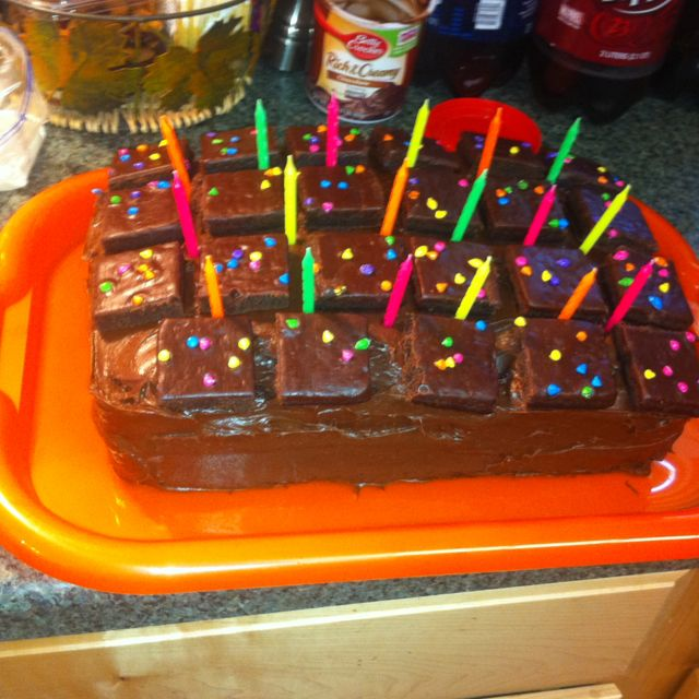 Cosmic brownie birthday cake Two layers of devils food cake and in
