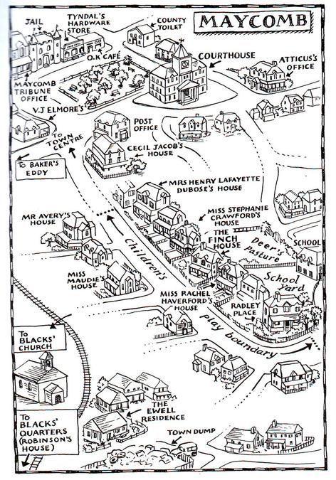 To Kill A Mockingbird Map Of Maycomb : mockingbird, maycomb, Maycomb, Google, Search, Teaching, Literature,, Mockingbird,, Freshman, English