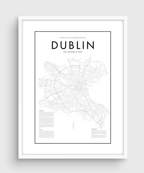 tirage carte de qualite Affiche carte Dublin minime, Black & White minime tirage Poster