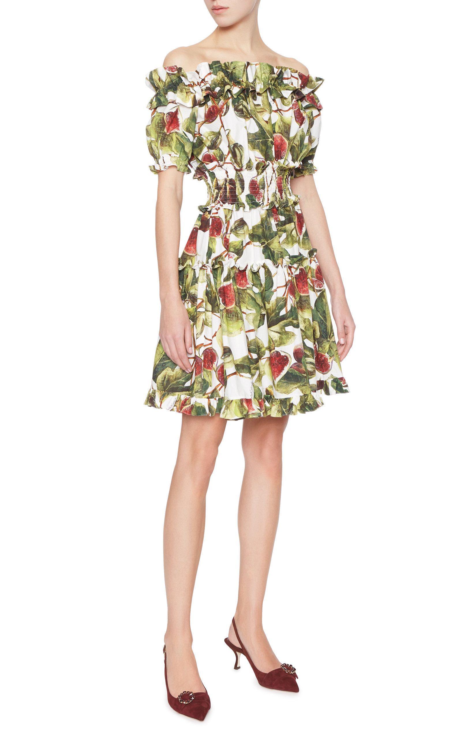 Off-The-Shoulder Printed Cotton-Poplin MIni Dress Dolce & Gabbana H2mf4v