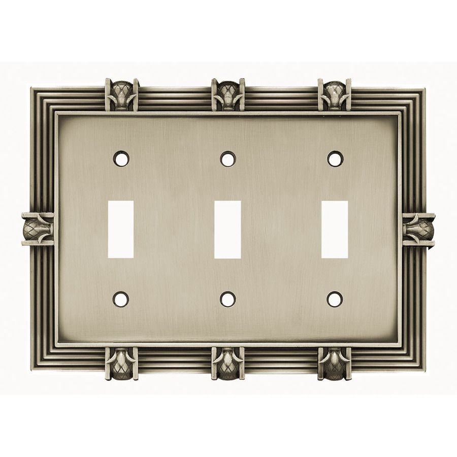 Lowes Wall Plates Adorable Brainerd 3Gang Brushed Satin Pewter Toggle Wall Plate  Multiple Design Decoration