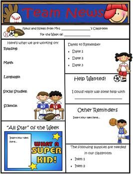 Sports Theme Newsletter Template Word Sports Classroom School Sports Theme Sports Theme Classroom