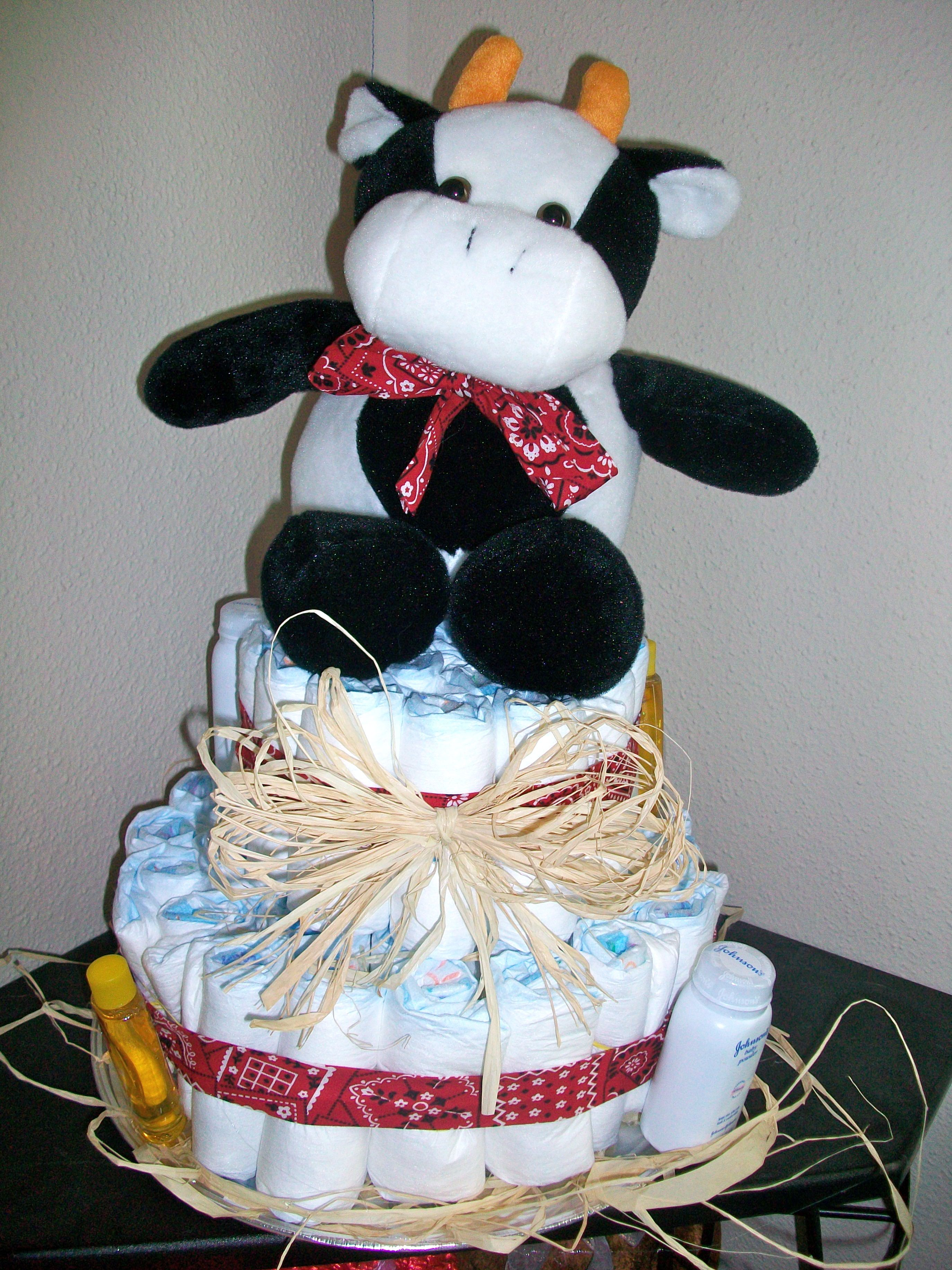Cow diaper cake that i created for a friend once