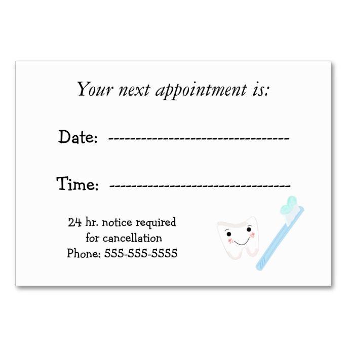 Dental Appointment Zazzle Com Business Card Appointment Appointment Cards Dental Business Cards