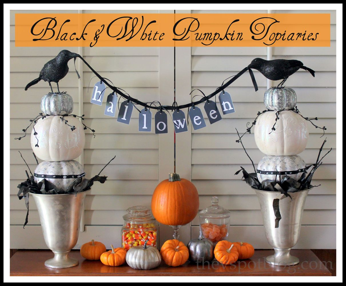 Halloween Decor - Black & White Pumpkin Topiaries ...