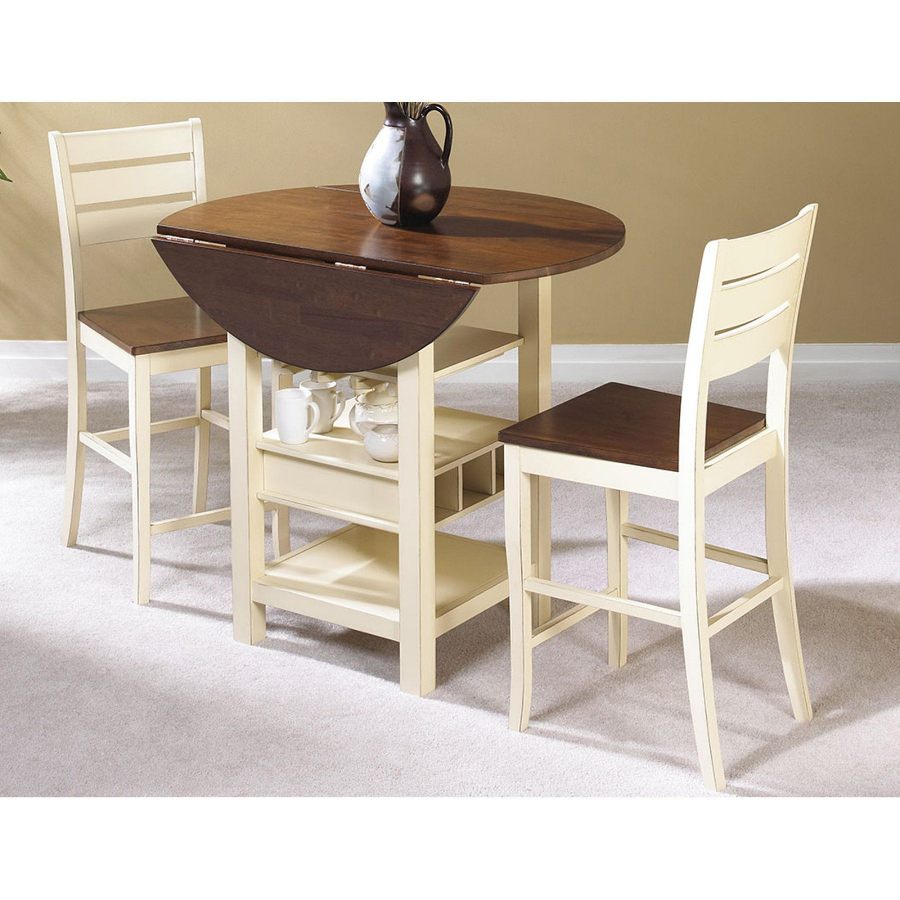 Sunset Trading Cascade 3 Piece Cream & Espresso Pub Table