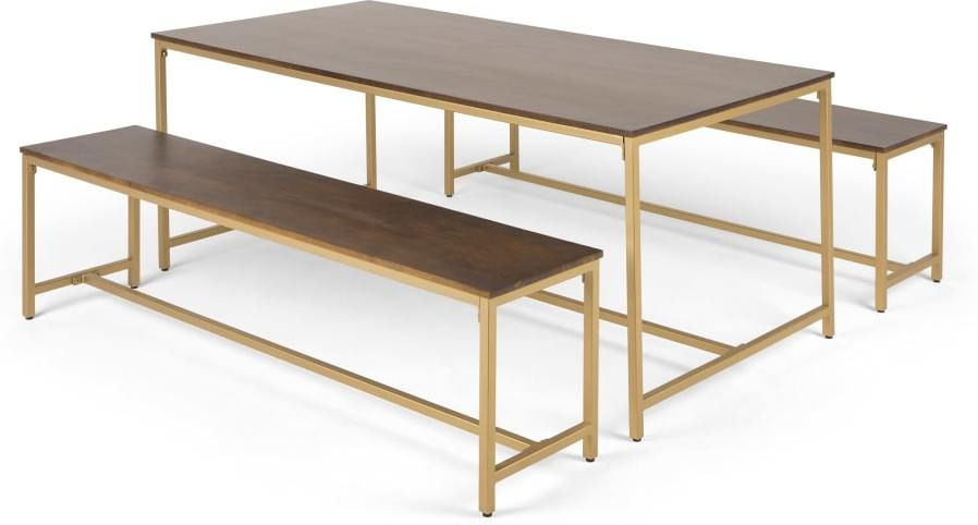 Cool Lomond Dining Table And 2 Benches Set Mango Wood And Brass Gmtry Best Dining Table And Chair Ideas Images Gmtryco