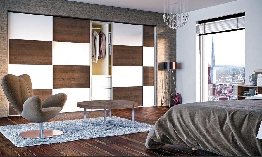Sliding Wardrobe Fitted Bedroom In Tobacco Oak And Gloss Cream Fitted Bedrooms Sliding Bedroom Doors Bedroom Design
