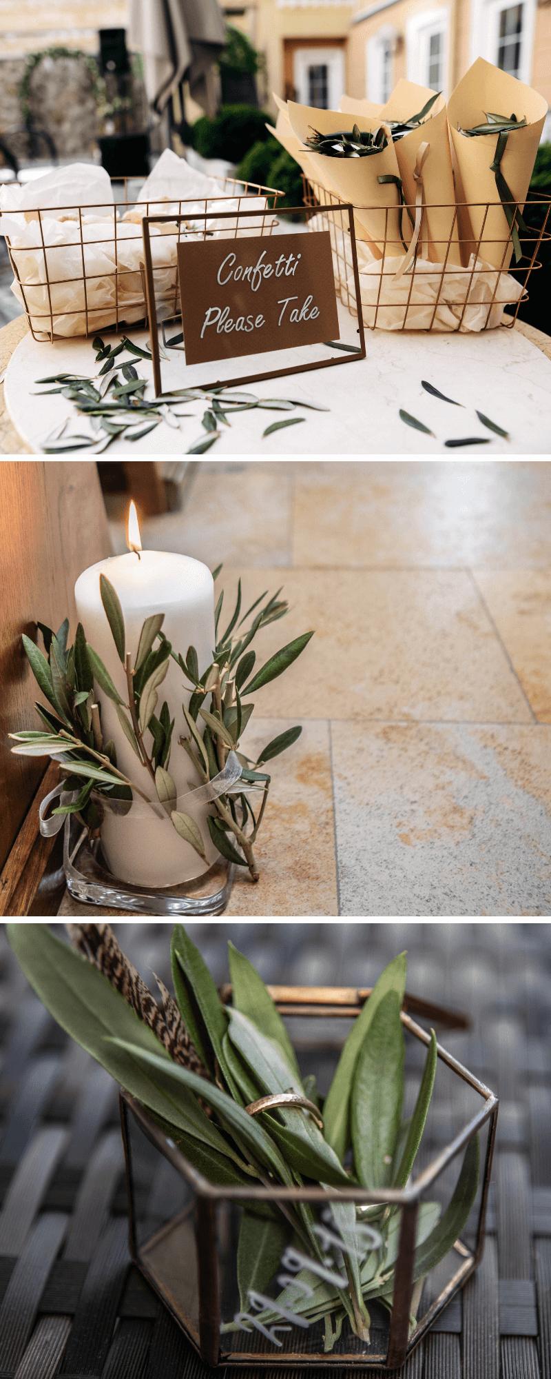 30 ideas para decoración de bodas con ramas de olivo – caja de boda