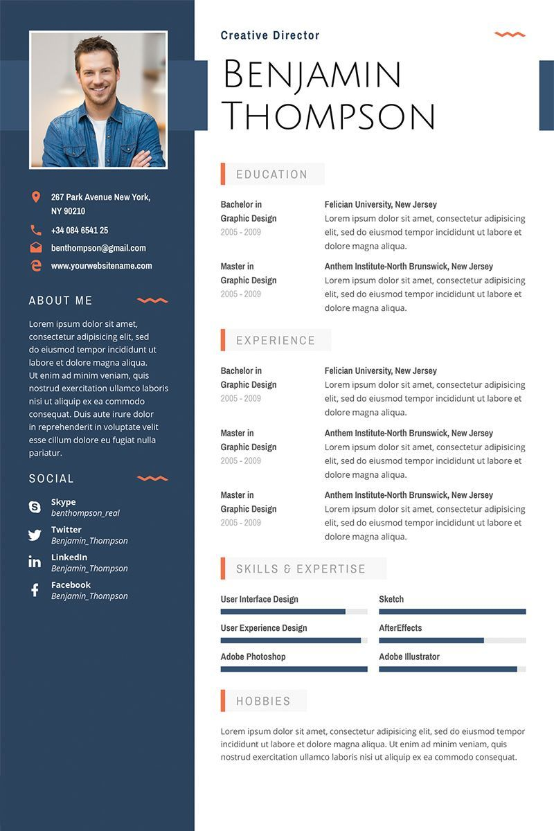 Benjamin Thompson Multipurpose Elegant Resume Template 64872 Cv Kreatif Desain Cv Desain Resume