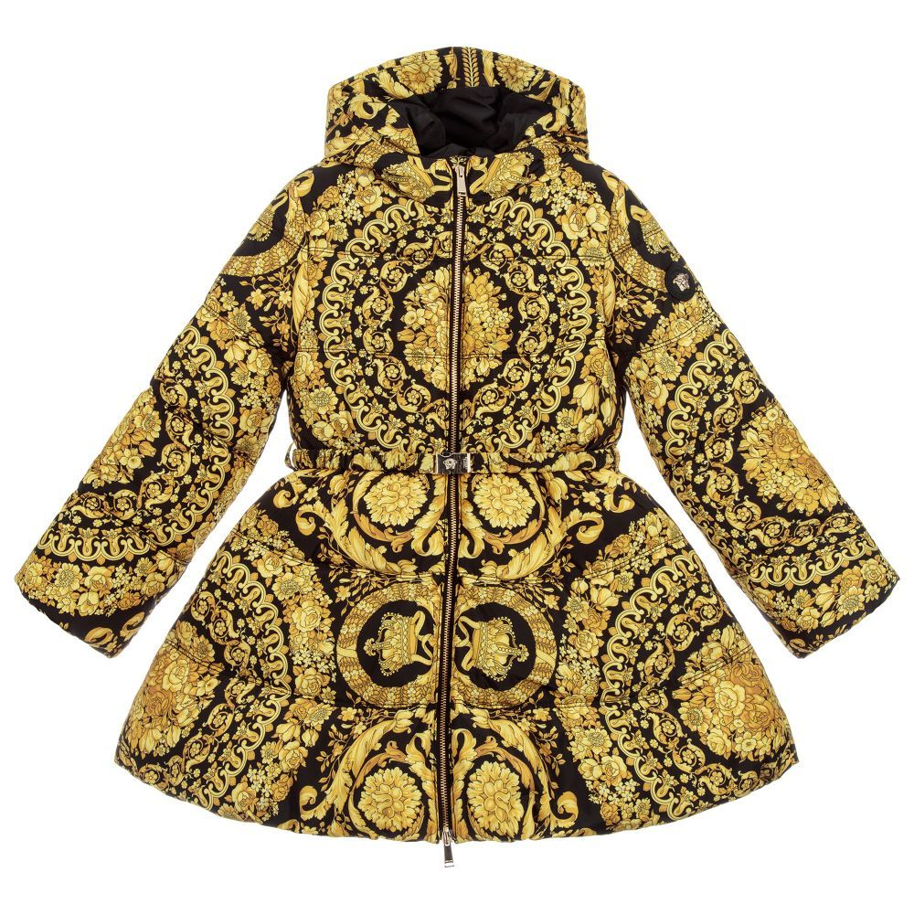 cce764e3b Girls Down Padded Gold Coat for Girl by Young Versace. Discover more ...
