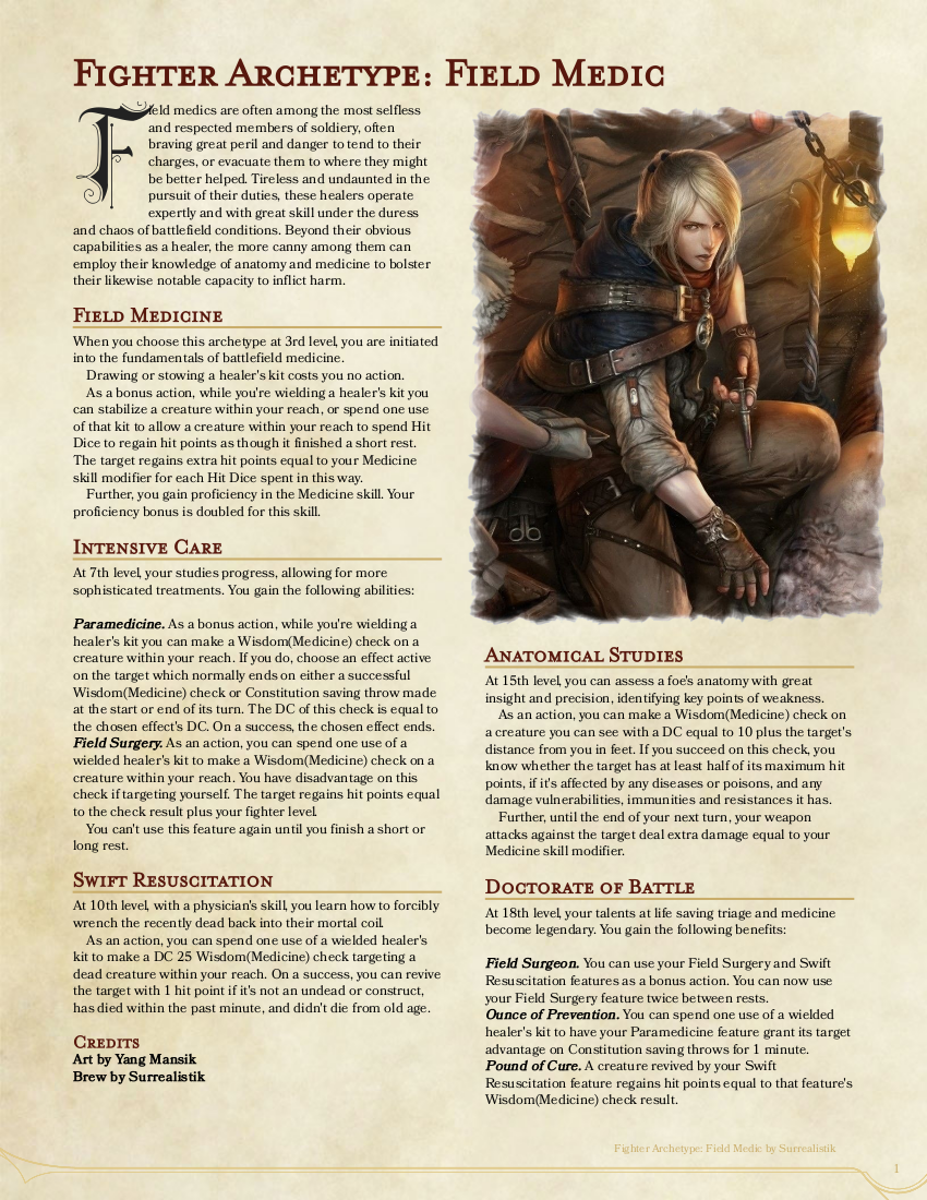 Fighter Archetype - Field Medic, 2nd Draft : DnDHomebrew | class
