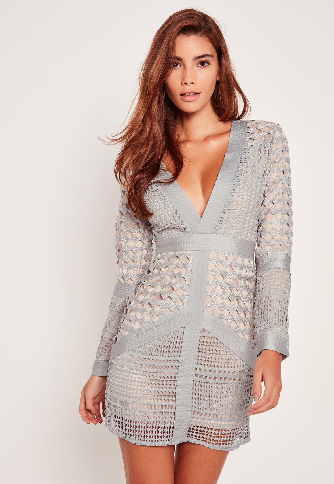 Missguided - Lace Plunge Bodycon Dress Grey | cute outfits | Pinterest