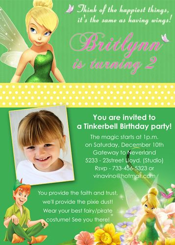 Tinkerbell Disney Fairy Custom Birthday Invitation Fairy