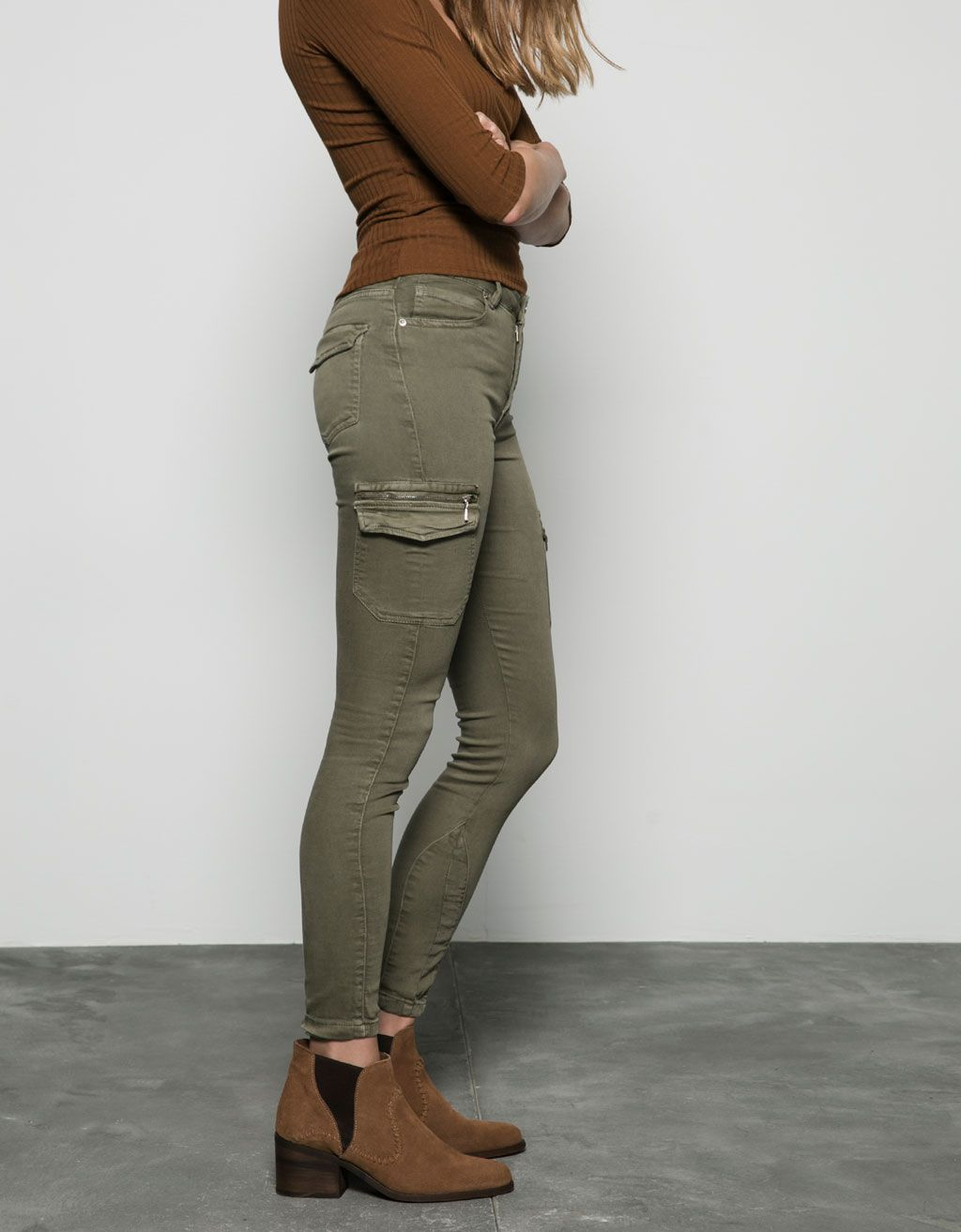 a5fb2ca7a4a3 Cargo ripped trousers in 2019 | Products | Jeggings outfit, Trousers ...