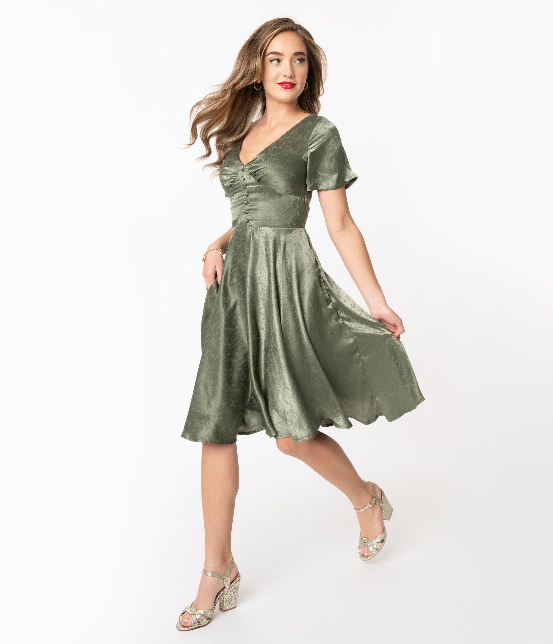 1950s Sage Green Embossed Leaf Print Kaylee Swing Dress Mod And Retro Clothing Sage Green Dress Green Bridesmaid Dresses Short Vintage Green Dress [ 2048 x 1759 Pixel ]