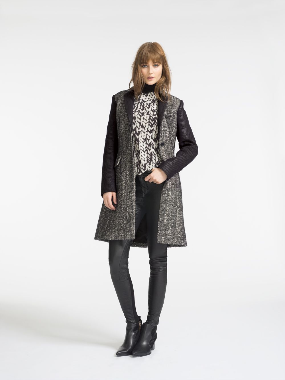Boy-fit coat and textural knit