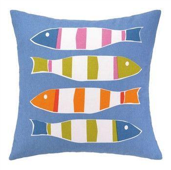 Blue Picket Fish Print Pillow 20 x 20