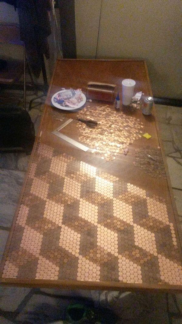 penny table top neat idea