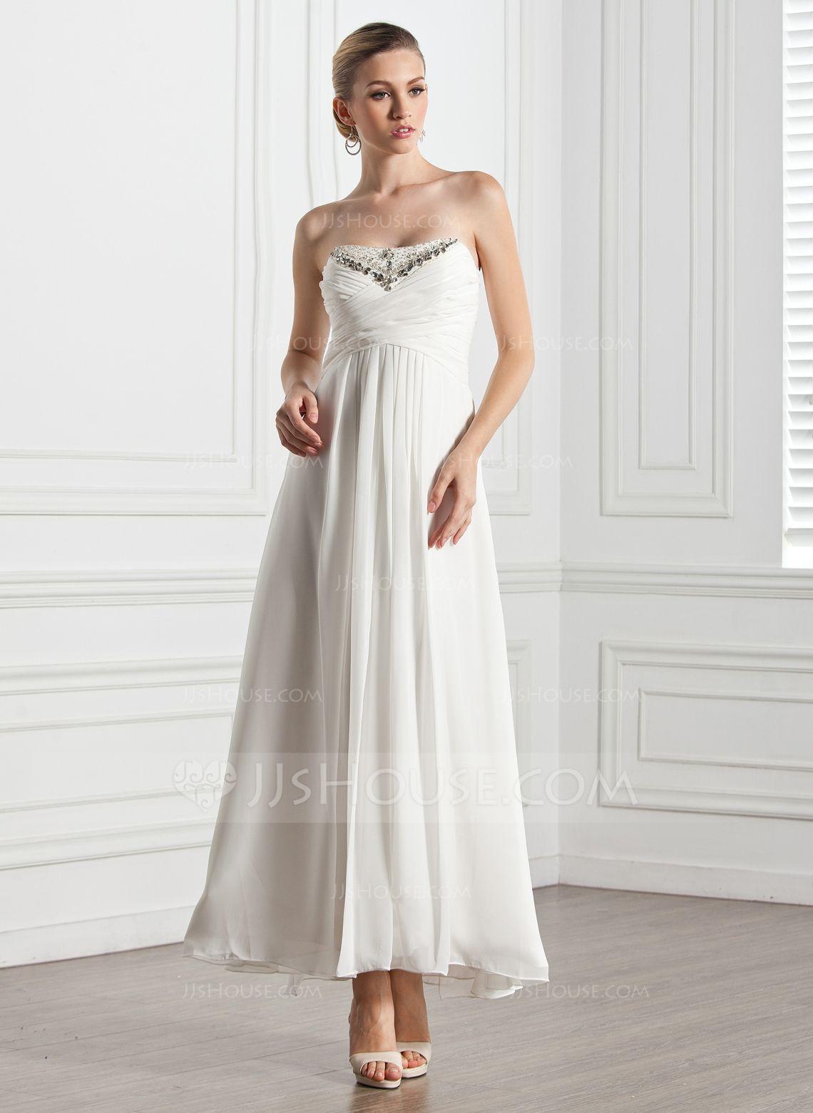 Empire sweetheart anklelength chiffon evening dress with ruffle