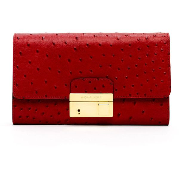 Michael Kors Gia Ostrich-Embossed Leather Clutch, Crimson