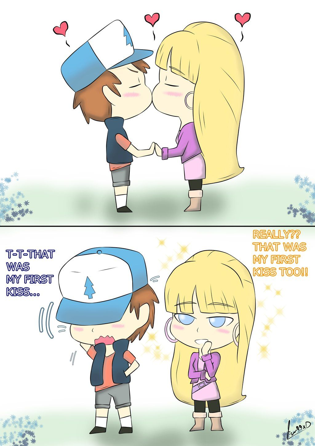 First Kiss Dipper And Pacifica By Fran99xd Dipper And Pacifica