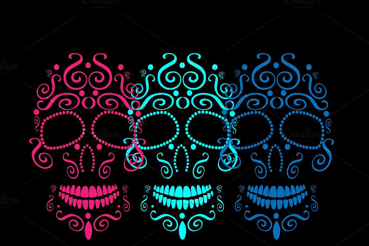 Skull Vector Ornament Pink Color Background Patterns Neon Color Neon