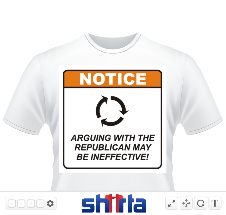 "Tired of arguing with people about politics?  Feel like you're going in circles with some people?  This humorous design includes the words ""NOTICE. Arguing with the Republican may be ineffective!"""