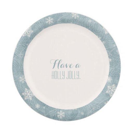 Elegant snowflake Christmas Holiday paper plates
