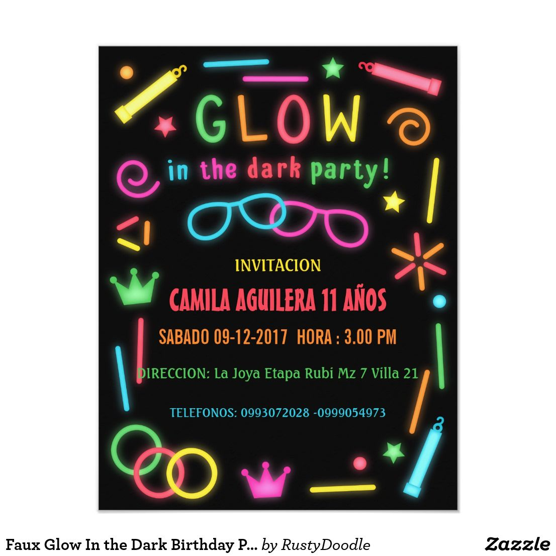 Faux Glow In the Dark Birthday Party Invitations | Party invitations ...