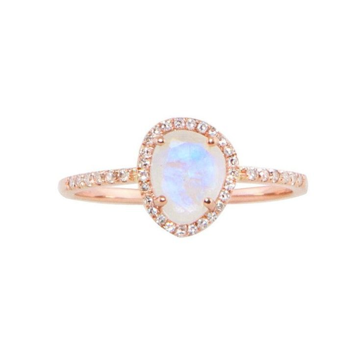 14kt gold mini moonstone and diamond ring total diamond weight