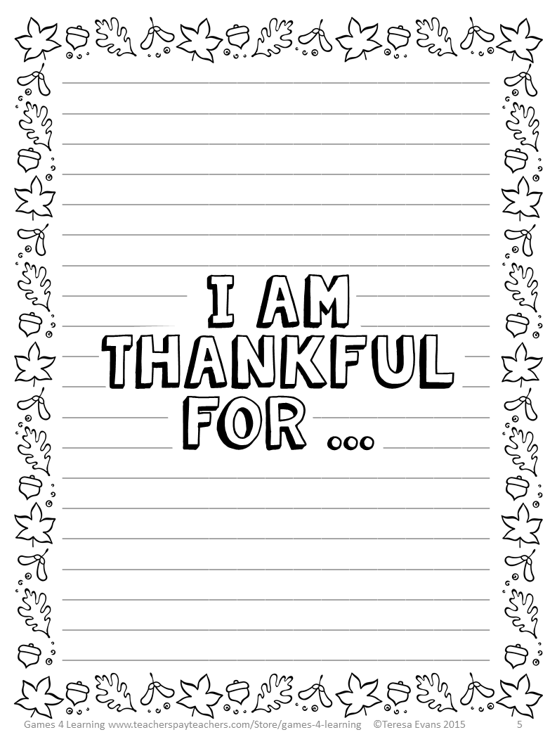 i am thankful for writing paper